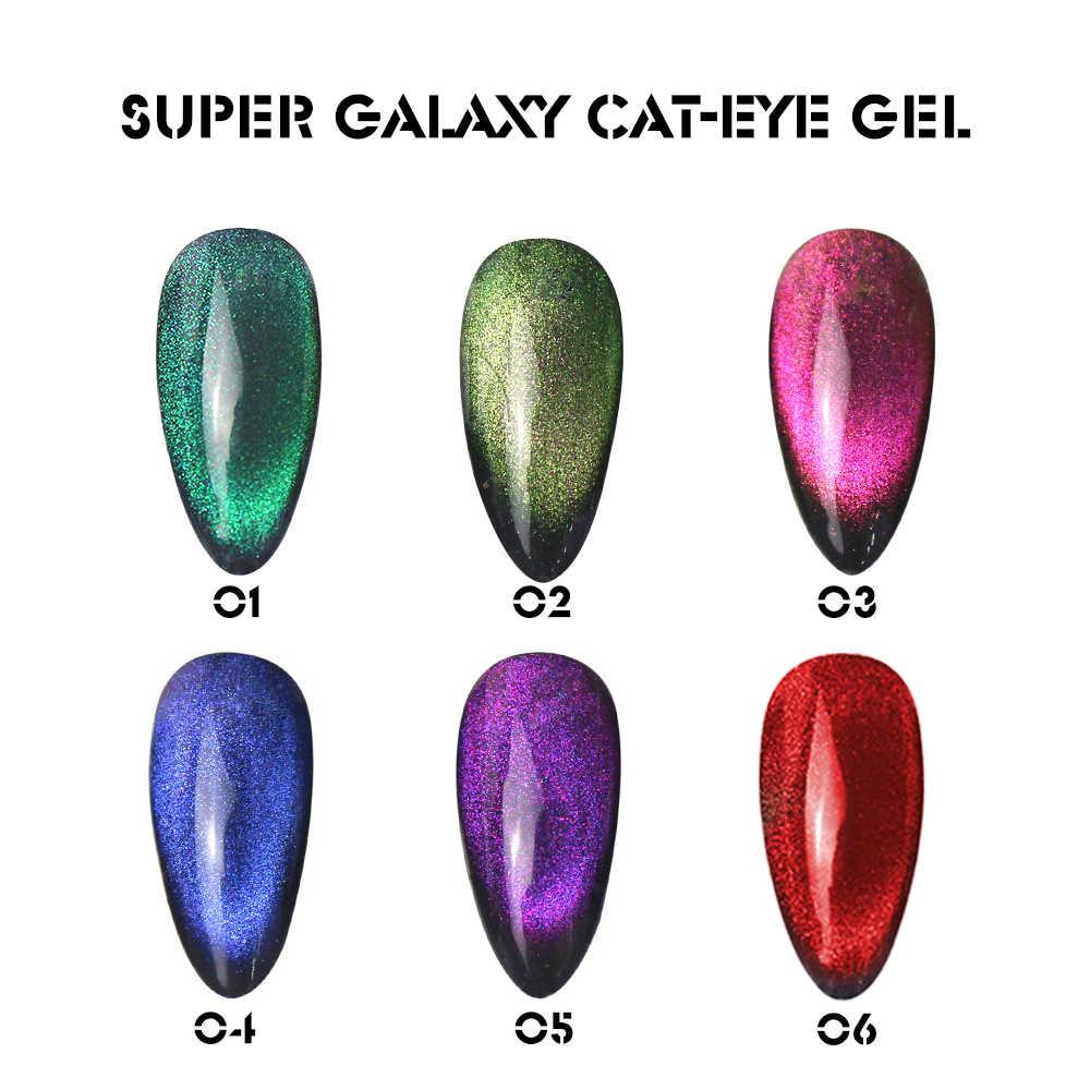 8Ml 5D 9D Merah Cat Eye Gel Chameleon Galaxy Star 9D Cat Eye Nail Gel Magnet Bahasa Polandia Bersinar Rendam off Semi Permanen Gel Varnish