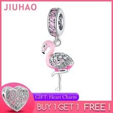 Hot 925 Sterling Silver Pink Sparkling CZ Flamingo Charms For jewelry making Pendants Fit Original Charm Pandora Bracelets