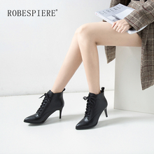 цены ROBESPIERE New Genuine Leather Pointed Toe Ankle Boots For Women Lace Up Spike Heels Shoes Warm Plush Large Size Boots Woman B77