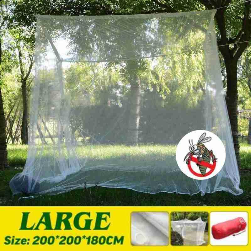 Grande branco acampamento mosquito net de armazenamento