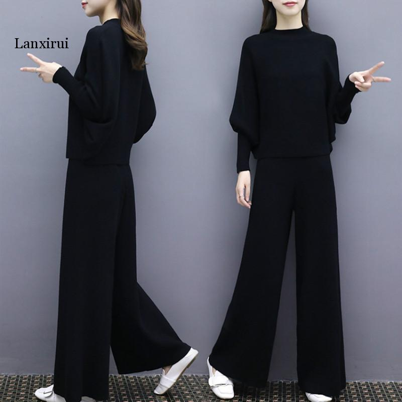 2 Piece Set Womenautumn New Fashion Women's Bat Sleeve Knit Wide Leg Pants Suit Female Loose Large Size Two-piece Female