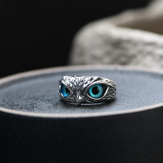 Charm Vintage Cute Men and Women Simple Design Owl Ring Silver Color Engagement Wedding Rings Jewelry Gifts 2