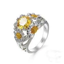 Женское кольцо «Подсолнух» blaike белое золотистое изящное круглое
