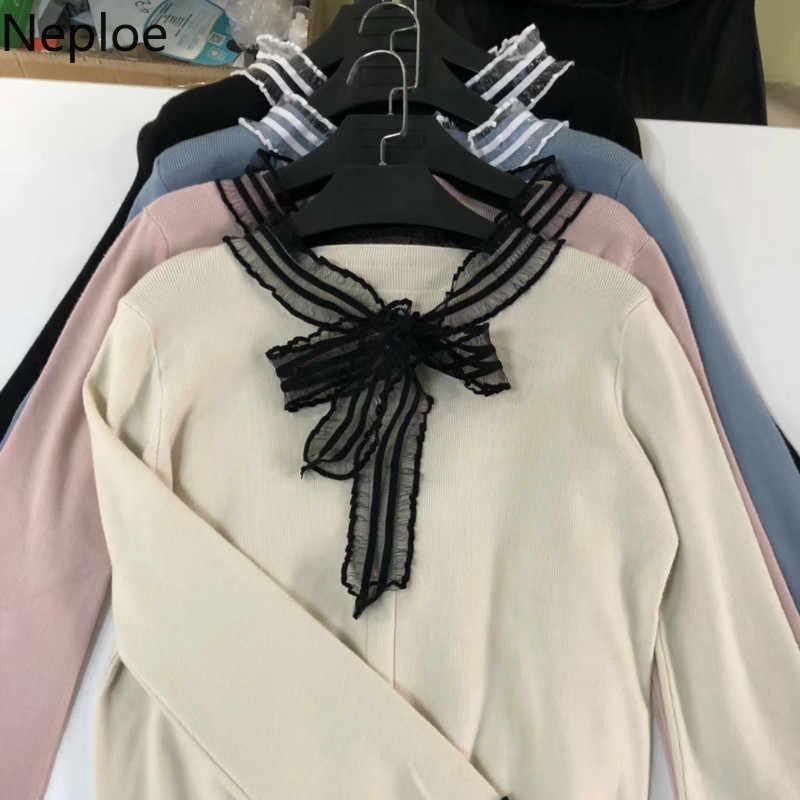 Neploe 2020 Nova Doce Lace Up Bow Lace Camisola de Malha Remendo Mulheres Lantern Manga Comprida Puxar Femme Estudante Pullovers Curto 46648