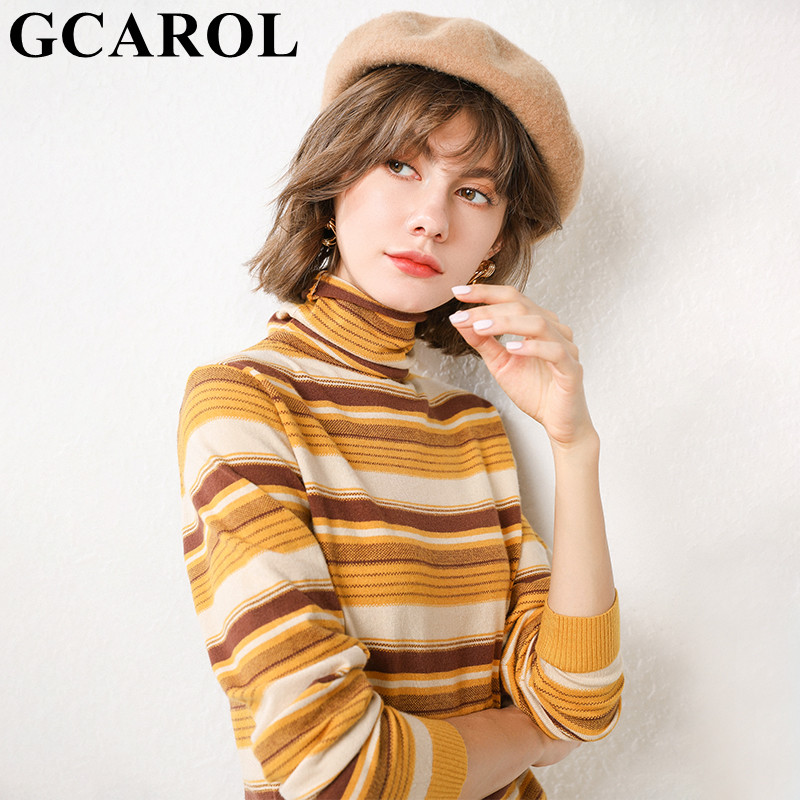 GCAROL Women Stripes Turtleneck Sweater 30% Wool Gradient Color Jumper Fall Winter Spring Easy Matching Render Knit Pullover