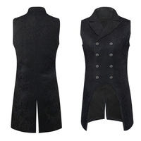 Autumn Mens Steampunk Gothic Vest Black Double Breasted Sleeveless Jacquard Tailcoat Medieval Victorian Cosplay Suit Vest