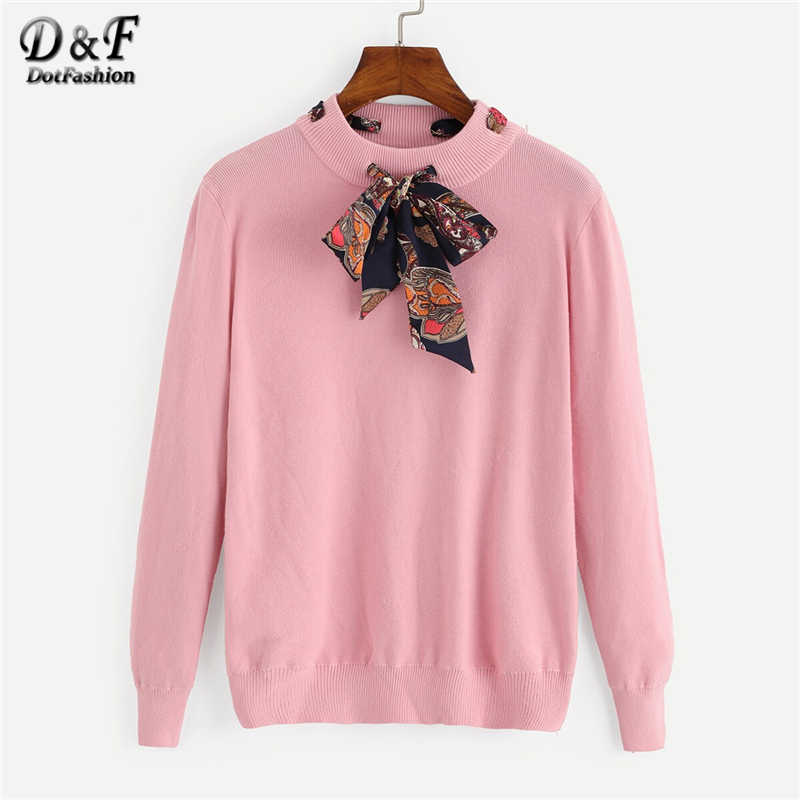 Dotfashion Casual Bow Tie Neck Detail Sweater Women 2019 Autumn Long Sleeve Sweaters Ladies Pink Stand Collar Sweet Top