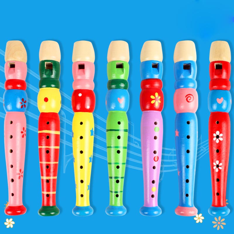 1Pc Wooden Baby Kids Short Musical Instrument Toys Early Education Develop 6-Holes Wooden Trumpet Random Color