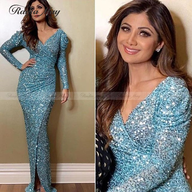 Saudi Arabia Sky Blue Sequined Sheath Evening Dress 2020 Elegant Women Formal Dresses With Sleeves V-Neck Split Prom Party Gowns