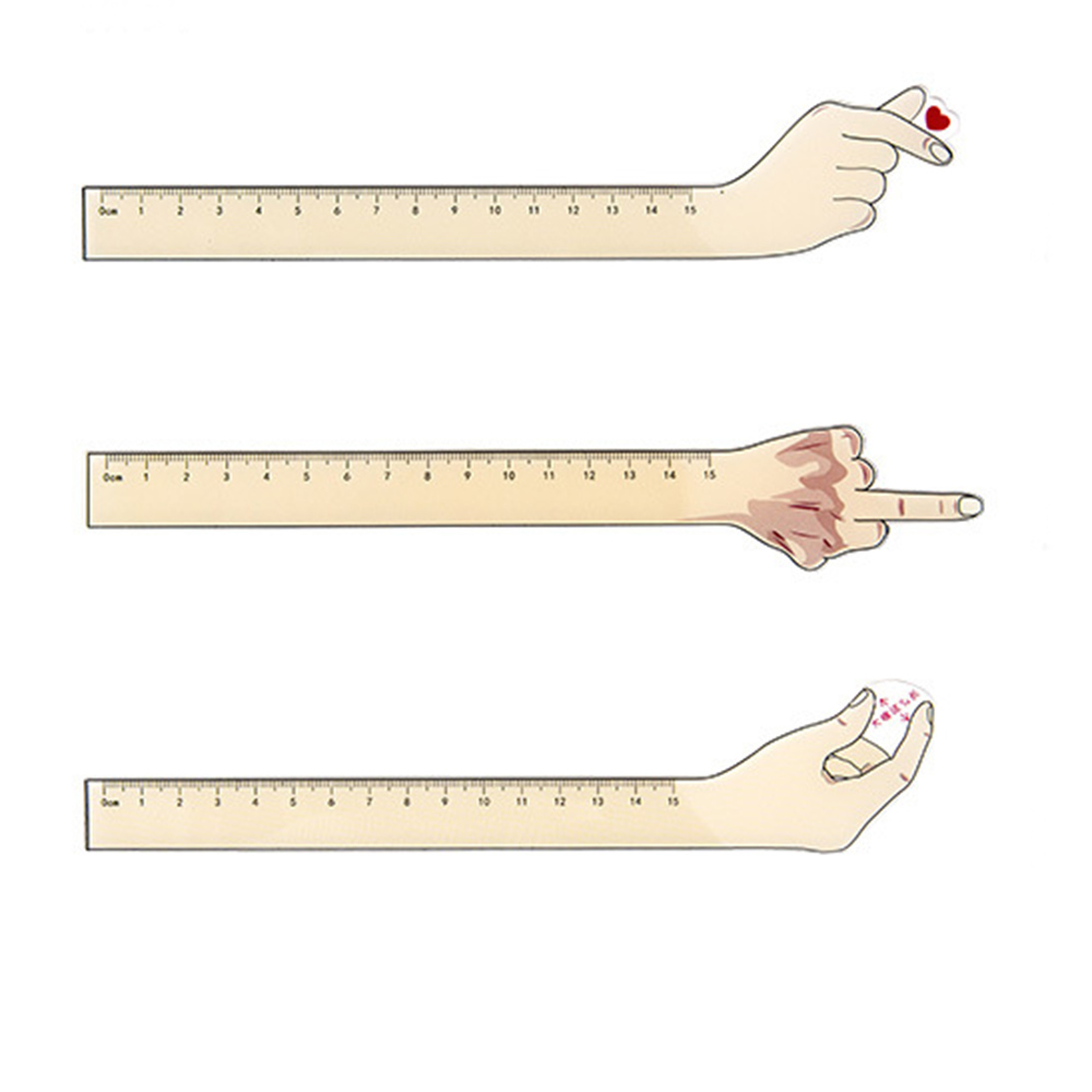 1 Pcs Kawaii Acrylic Hand Gesture Heart Finger 15cm Measuring Straight Rulers Bookmark Drawing Ruler Stationery School Supplies