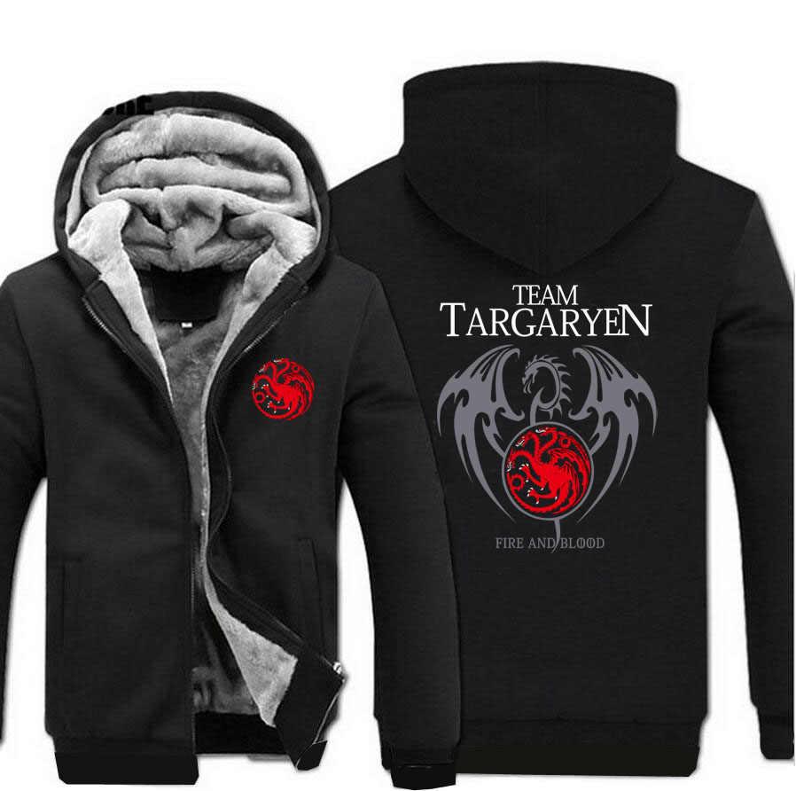 Bluza z kapturem ciepły gruby polar męska kurtka zimowa gra o tron płaszcz Targaryen ogień krwi płaszcze smok bluza bluzy kurtki