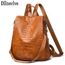 DIINOVIVO Crocodile PU Leather Backpack Women Anti Theft Backpacks Female Vintage Travel School Shoulder Bag Bagpack WHDV1310