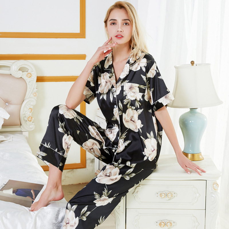 Women's Sleepwear Autumn And Winter Sweet WOMEN'S Long-Sleeve Knit Cotton Pajamas Middle-aged Mom Household Plus-sized Set
