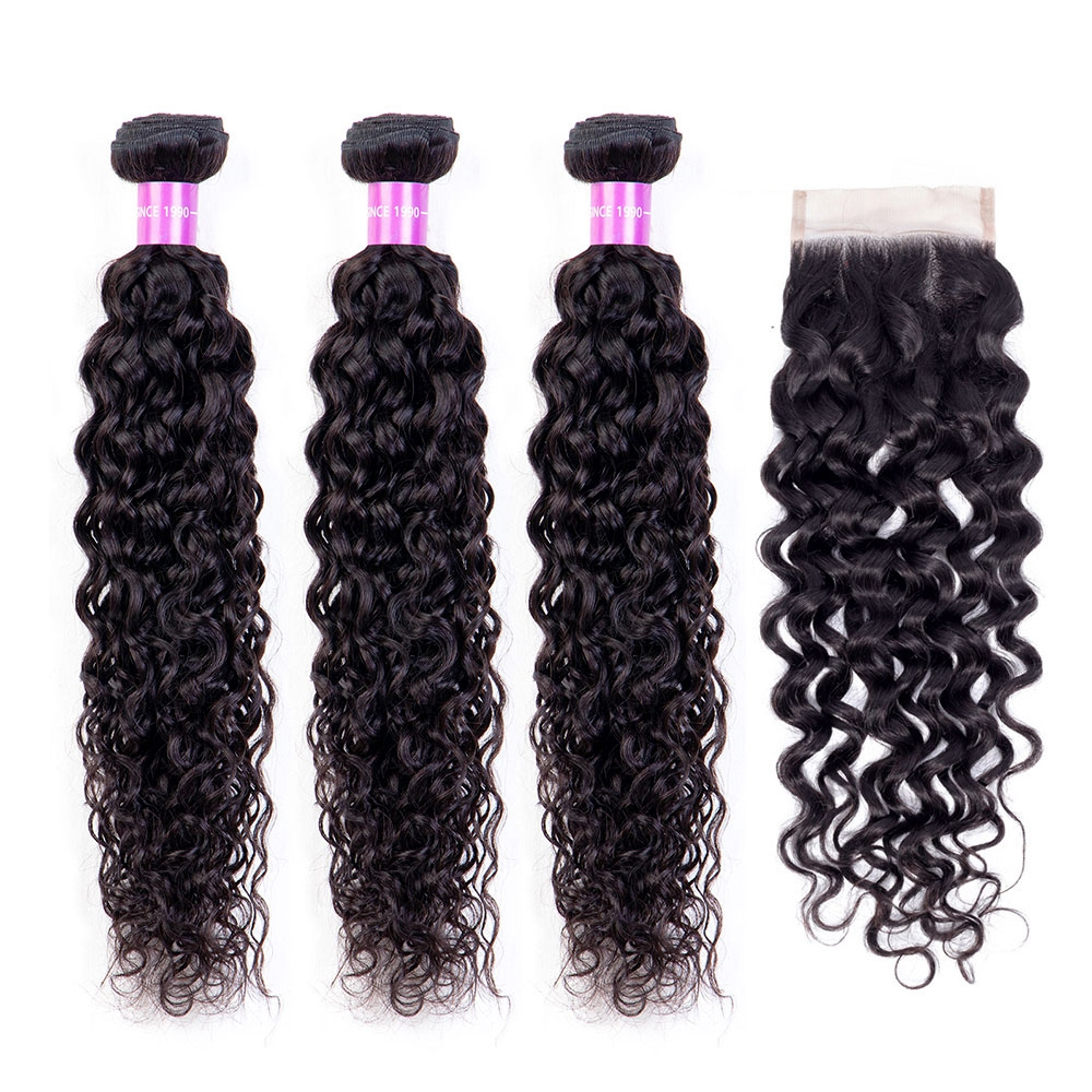 Brazilian Hair Water Wave Bundles With Closure Free Part Remy 3 PCS Human Hair Weave Bundles With 4*4 Lace Closure Free Shipping