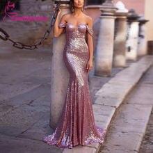 Женское вечернее платье русалка сияющее с блестками и открытыми