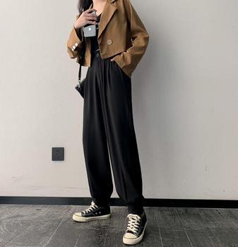 Czarny garnitur spodnie damskie jesień wysokiej talii luźny szalony zamek wiązki szerokie spodnie moda fajka Harem Pants tanie i dobre opinie COTTON Poliester Pełnej długości CN (pochodzenie) Wiosna jesień Stałe Na co dzień Proste Mieszkanie Luźne Osób w wieku 18-35 lat