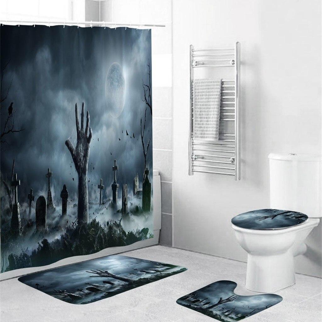 bathroom carpet Halloween festival 4PCS Non Slip Toilet Polyester Mat Set Bathroom Curtain 3д коврики ковры водонепроницаемые 20