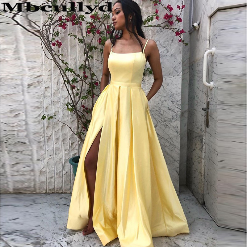Mbcullyd Light Yellow   Prom     Dresses   Long 2020 With Pocket High Split Evening Party   Dress   Formal A-line vestidos de gala cortos