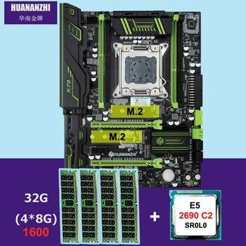 HUANANZHI X79 Pro Материнская плата с двумя M.2 слот скидка материнской платы с Процессор Intel Xeon E5 2690 C2 2,9 ГГц Оперативная память 32G (4*8G) RECC