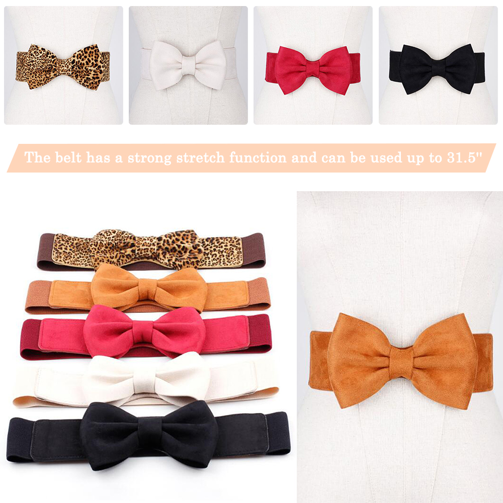 Elastic Wide Belt For Women Stretch Thick Ladies Bowknot Waist Belt For Dress Waistband Fashion Stretch Belts Accessories D40