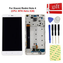 "5.5 ""Voor Xiaomi Redmi Opmerking 4 Lcd-scherm Module Note 4 (Cpu: Mtk Helio X20) touch Screen Digitizer Sensor Vergadering Frame(China)"