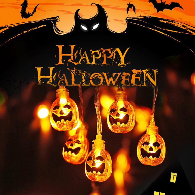 10 LED Lanterns Lamp For Halloween Decor Hanging String Lights Horriable Ghost/Pumpkins/Spider/Bat/Skull Lamp Outdoor Home Decor