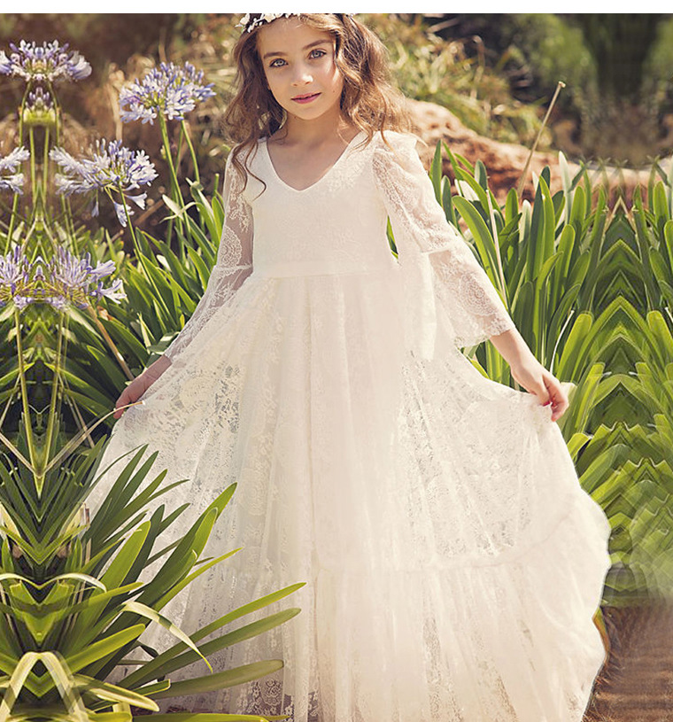 2020 New White Ivory Bohemian Bridal Gowns Flower Girls Dresses Long Sleeves A Line Princess Communion Gowns