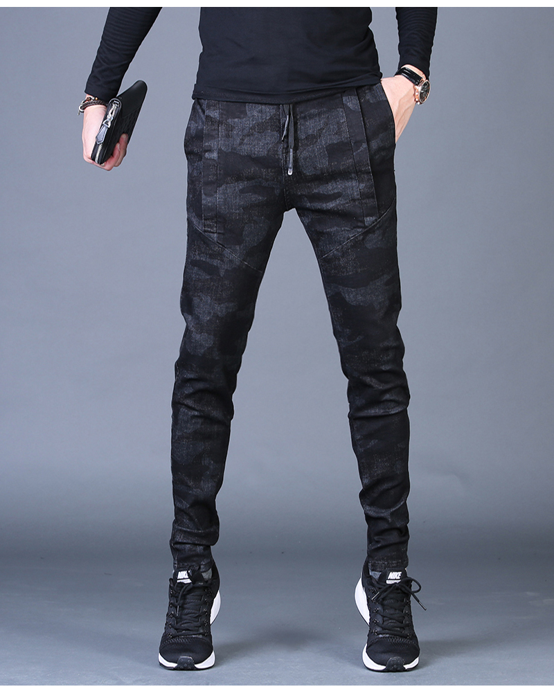 Free shipping new fashion men's male casual Original camouflage jeans men plus velvet autumn stitching pants Slim Korean C3129 78