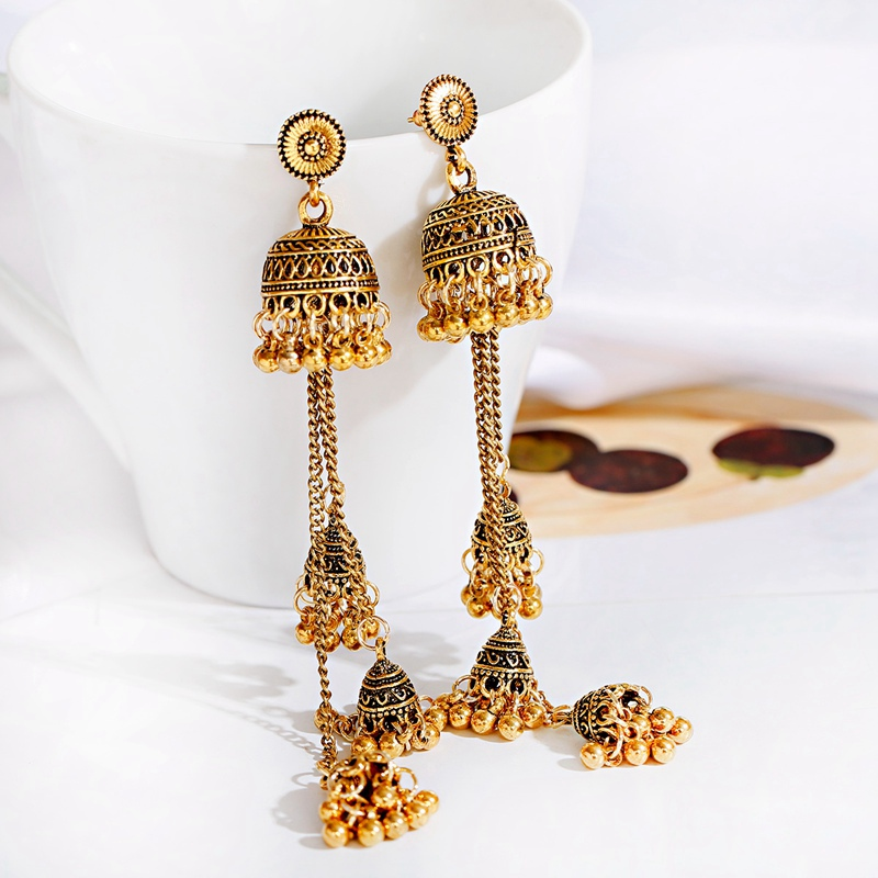 Ethnic Gold Afghan Long Tassel Bead Drop Earrinngs Bollywood Jewellery Bell Jhumka Indian Earrings Wedding Jewelry