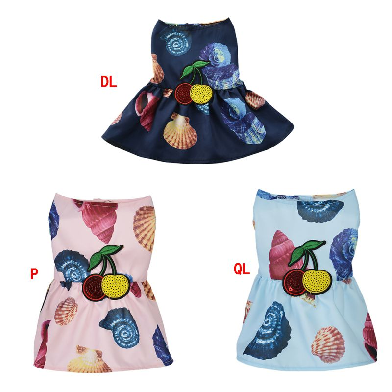 Skirt For Small Medium Dogs Chihuahua Dress For Puppy Summer Dog Nch Beach Dress Pet Dog Puppy Clothes Princess Printing