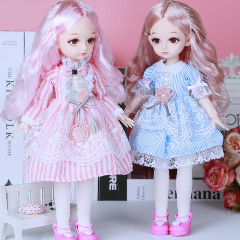 New 32CM Bjd Doll for Girl 22 Joints Doll with Fashion Dress 1/6 DIY Doll Dress Up Gifts for Girl Toy