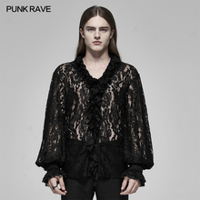 Shirt Blouse Fabric Bubble-Sleeve Performance Stage Party Punk Rave Black Gothic Men's