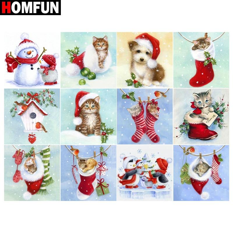 """Homfun quadrado completo/broca redonda 5d diy pintura diamante """"gato cão natal"""" 3d bordado ponto cruz 5d casa decoração presente"""