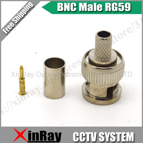 BNC Male Crimp Plug For RG59 Coaxial Cable, RG59 BNC Connector BNC Male 3-piece Crimp Connector Plugs RG59 AC23 Freeshipping .
