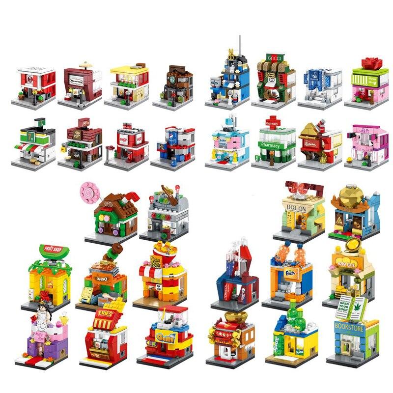 3D Model Single Mini Legoinglys City Street Series Pizza Ice Cream Toy Shop Retail Store Building Blocks Kids Educational Toys
