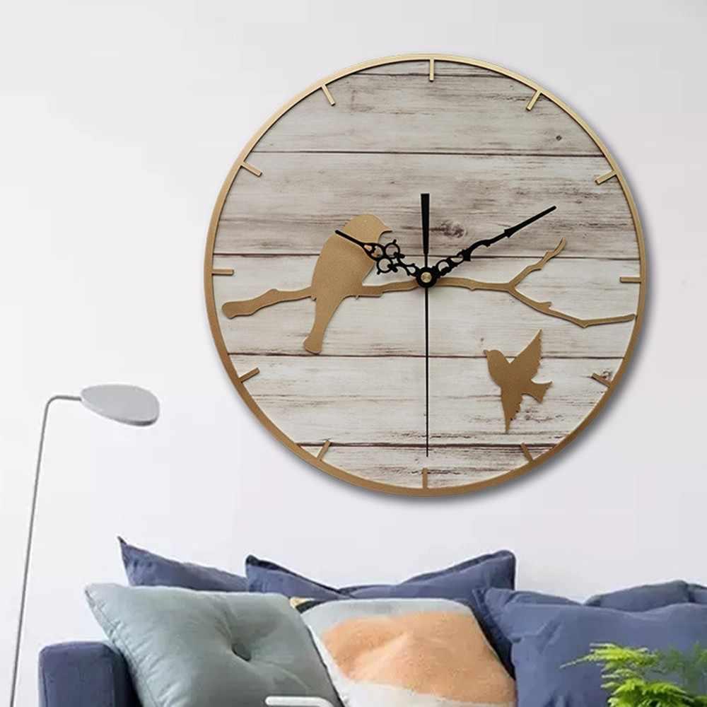 นาฬิกากรอบโลหะไม้ Nordic ห้องนั่งเล่นตกแต่งขายร้อน Quartz Twig Bird Wall นาฬิกาการเคลื่อนไหวเงียบ