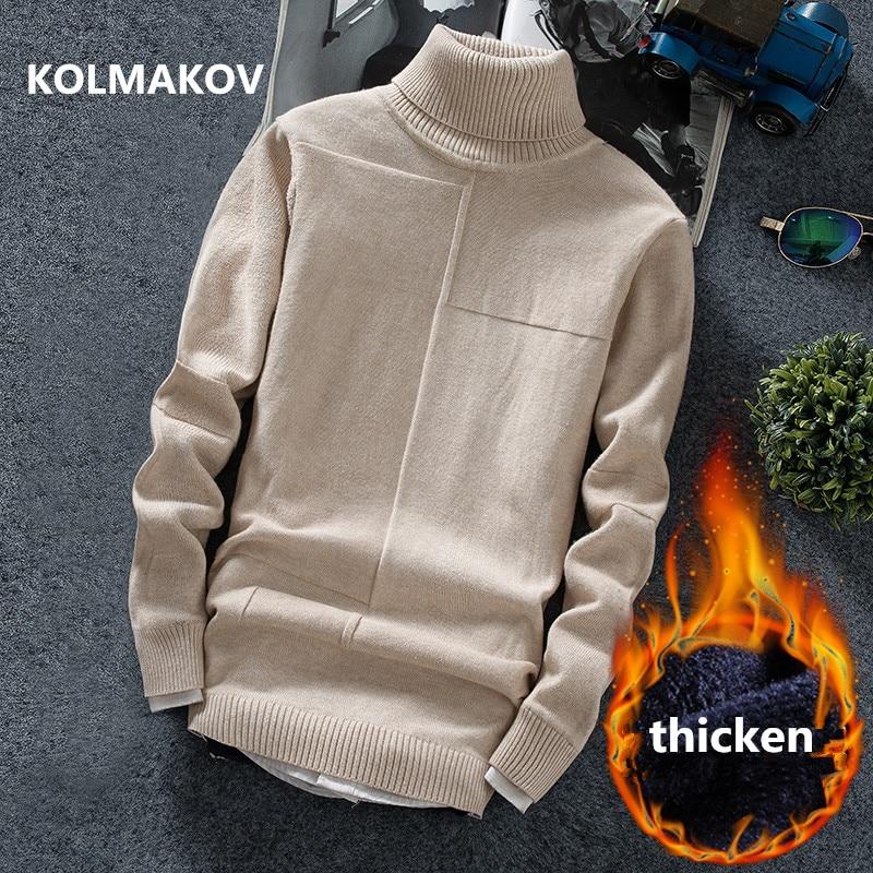 KOLMAKOV 2019 Winter Men's Sweaters Mens Sweater Turtleneck Knitted Pullovers Thicken Hot Sale Soft Wool Men Sweater M-3XL