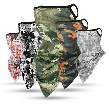 캠핑 및 사냥을 실행하는 사이클링 하이킹을위한 야외 실크 삼각형 스카프 두건