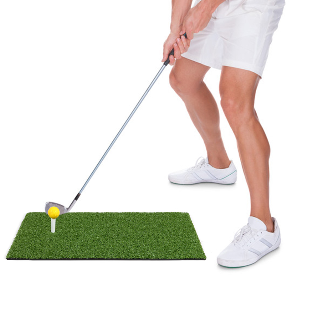 24x12IN Residential Golf Hitting Mat Golf Swing Pad Backyard Practice Golf Training Turf Rubber Tee Holder 6 Foam Bll Included
