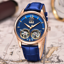 Watch Men 2019 New LIGE Blue Leather Double Tourbillon Mechanical Mens Watches T