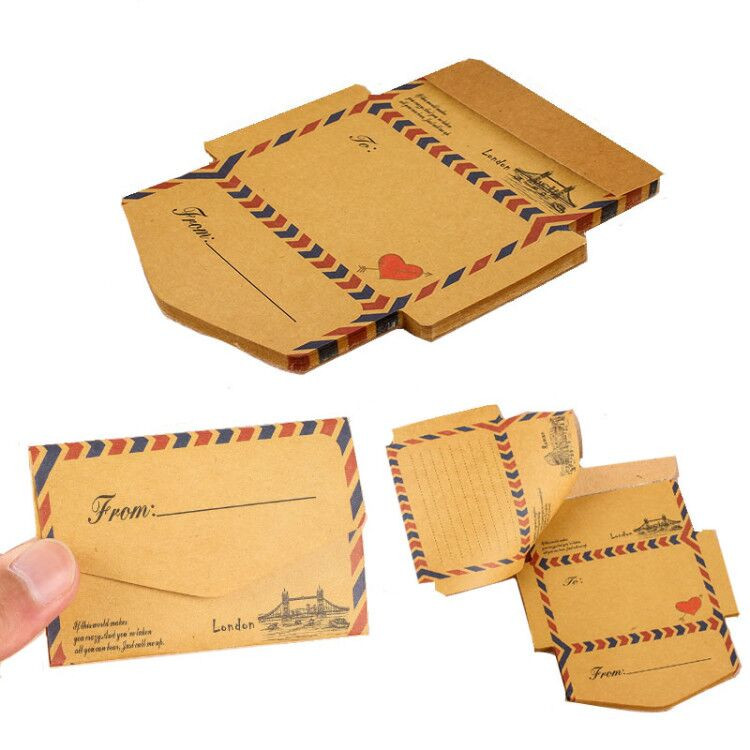 New Arrival 45 Sheets Vintage Creative Foldable Kraft Envelope Memo Pad Notes Message Paper Card Paperlaria Kawaii Stationery