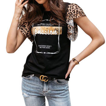 Leopard Print Short Sleeve Blouse Women Casual Letter Ladies Tops Summer Round Neck Shirts Blouses Casual Blusas Mujer D30 butterfly printed blouse shirts women sexy v neck ladies tops summer off shoulder sleeveless blouses casual blusas femme d30