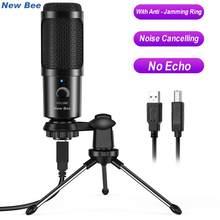 Microphone professionnel à condensateur USB, pour PC, ordinateur portable, Gaming, Studio d'enregistrement en Streaming, vidéo YouTube