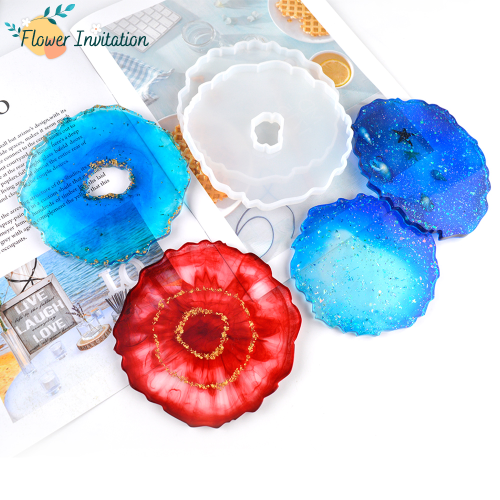 Flower Invitation DIY Decorative Crafts Baking Table Tray Base Round Epoxy Resin Silicone Coaster Mold For Jewelry Making