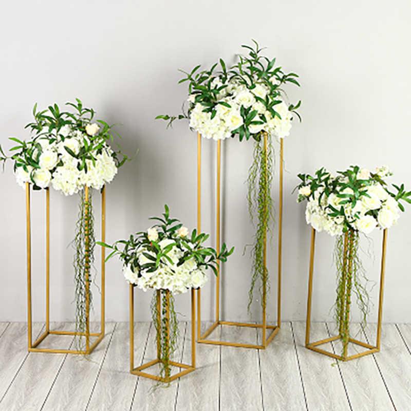 4 יח'\סט מתכת מסגרת להוביל דרך לחתונה Stand פרח מדף מדפי גיאומטרי דקורטיבי אבזרי מסיבת רקע שלב קישוט