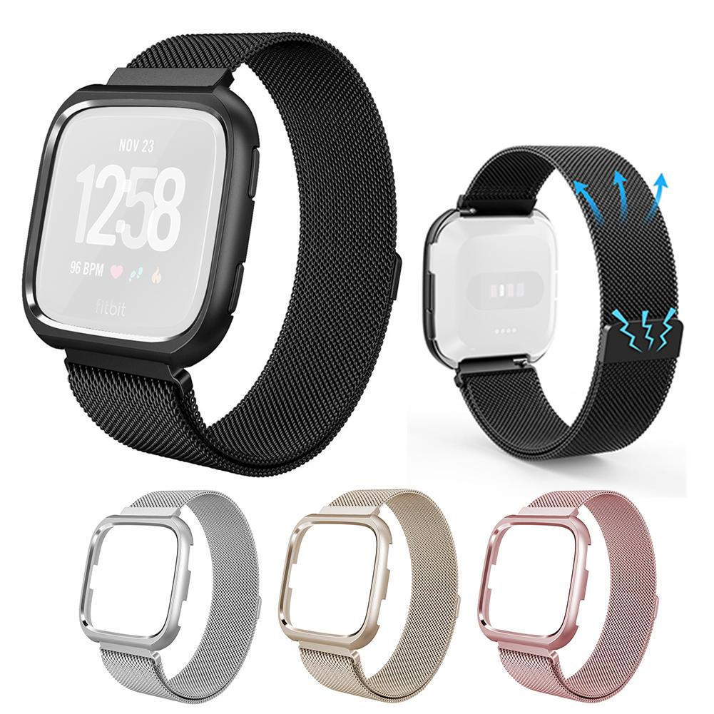 New Milanese Sport Watch Band Metal Wristband Loop Accessories With Protective Case For Fit Fitbit Versa Smart Watch