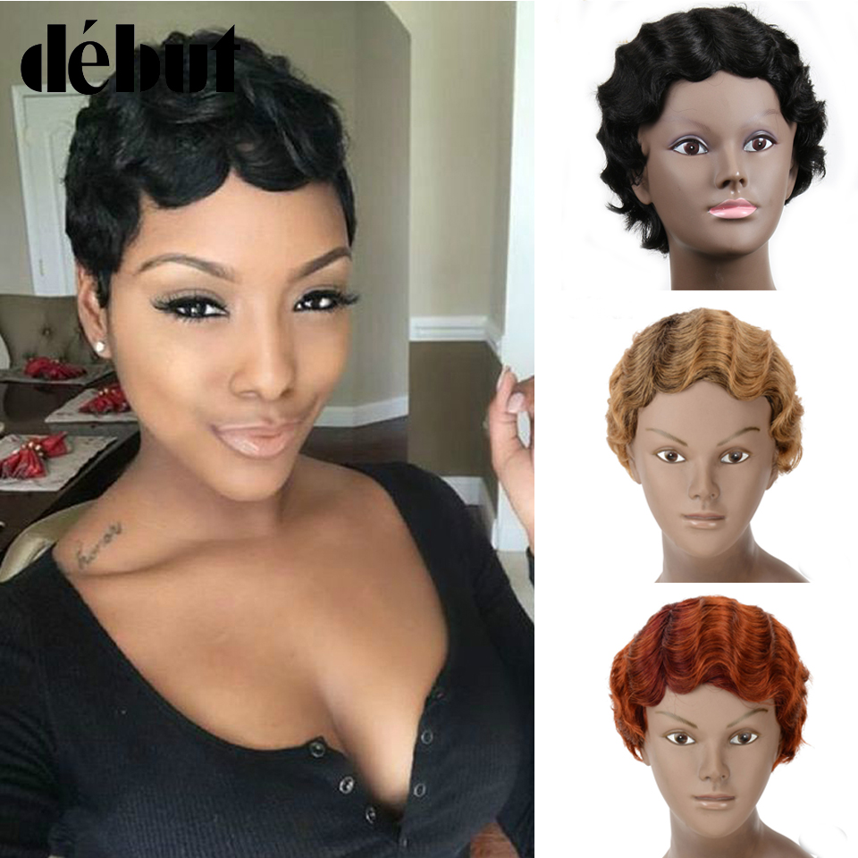 Debut Red Human Hair Wigs Cheap Short Pixie Cut Wigs Black Remy Human Machine Made Wavy Wave Wigs For Women Finger Wave Bob Wig