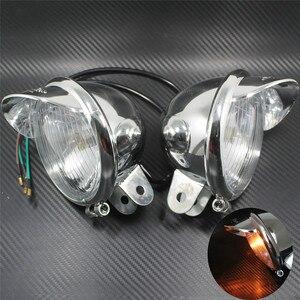 Image 2 - Fendinebbia universale per moto 12V cromato 2 pezzi faro visiera faro ABS per Harley Touing Dyna Sportser Softail per Honda