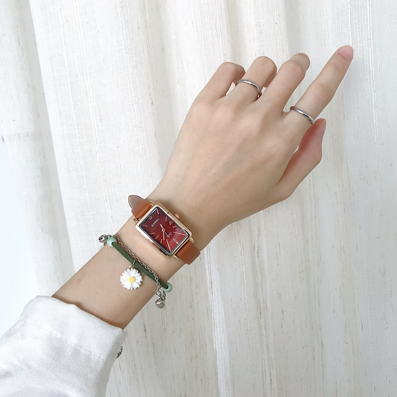 Прямоугольные Женские повседневные часы, ретро коричневые кварцевые часы, винтажные кожаные женские наручные часы|Женские часы|   | АлиЭкспресс