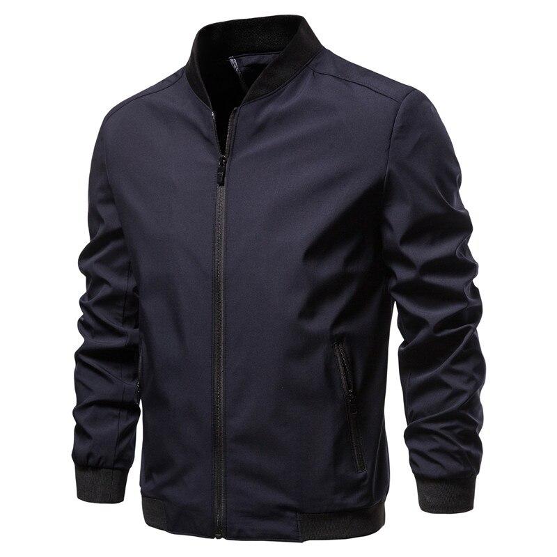 2020 New Stand Collar Zipper Men's Jacket Business Casual Fashion Simple Solid Color Men Jacket Autumn Slim Jacket Men